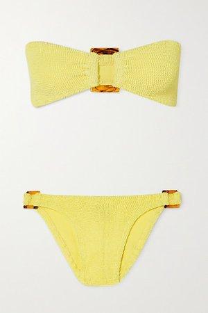 Net Sustain Gloria Embellished Seersucker Bandeau Bikini - Yellow