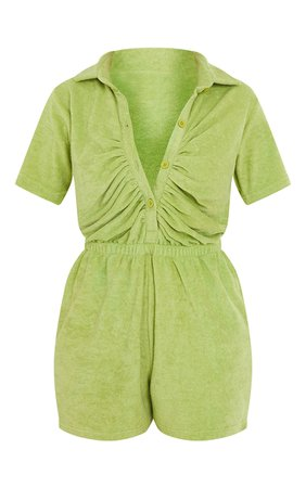 Lime Towelling Short Sleeve Ruched Button Playsuit | PrettyLittleThing USA