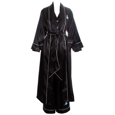 Vivienne Westwood black embroidered 3 piece pyjama suit, ss 1993 For Sale at 1stdibs