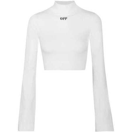 Off-White Cropped intarsia stretch-knit top ($300)