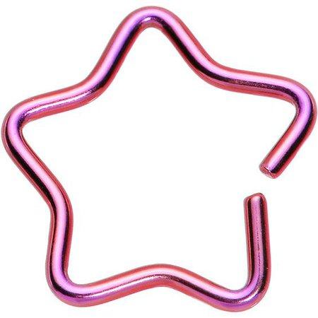 "18 Gauge 3/8"" Pink Hollow Star Closure Daith CartilageTragus Earring"