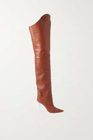 Iman Leather Thigh Boots - Camel