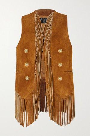 Balmain | Button-embellished fringed suede vest | NET-A-PORTER.COM