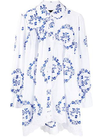 Shop white & blue Simone Rocha oversized floral-embroidered shirt with Express Delivery - Farfetch