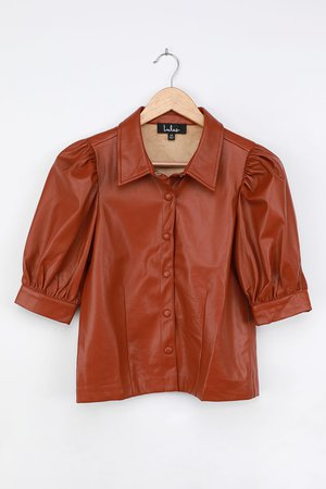Brown Faux Leather Top - Button-Up Top - Vegan Leather Shirt - Lulus