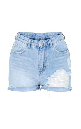 Plt Light Blue Wash Distressed Denim Mom Shorts | PrettyLittleThing