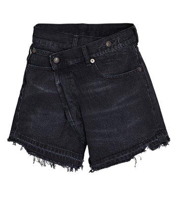 R13 Crossover Distressed Denim Shorts | INTERMIX®