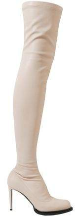 Faux Stretch-leather Thigh Boots