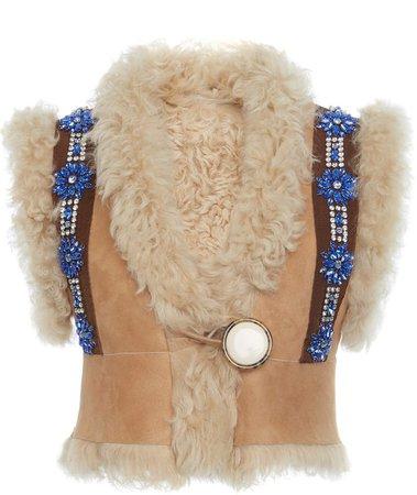 Faux Fur-Embellished Suede Vest