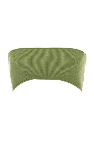 'Vapour' Olive Ribbed Knit Bralette - Mistress Rock