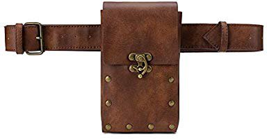 Amazon.com | Steampunk Hiking Waist Bag Dark Brown Women's Multifunction Fashion Trumpet Postman Messenger Bag Men Belt Bag Mobile Phone Outdoor Bag (Brown) | Waist Packs