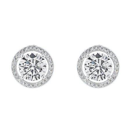 Cate & Chloe - Cate & Chloe Ariel 18k White Gold Halo CZ Stud Earrings, Silver Simulated Diamond Earrings, Round Cut Earring Studs, Best Gift Ideas for Women, Girls, Ladies, Special-Occasion Jewelry - Walmart.com - Walmart.com