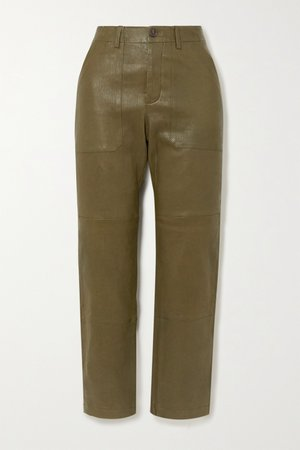 Army green Leather straight-leg pants | SPRWMN | NET-A-PORTER