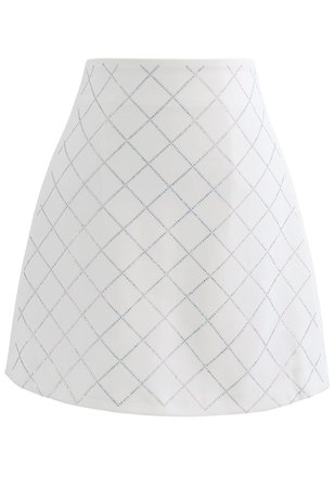 Flickering Diamond Shape Bud Skirt in Ivory - Retro, Indie and Unique Fashion
