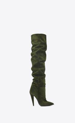 Saint Laurent era-110-boots-in-military-green-suede