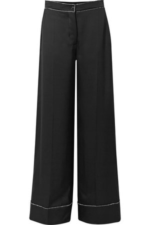Burberry | Crystal-embellished mulberry silk-satin wide-leg pants | NET-A-PORTER.COM