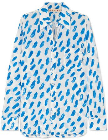 Printed Silk-georgette Shirt - Blue