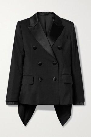 Asymmetric Satin-trimmed Grain De Poudre And Denim Blazer - Black