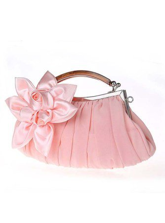 Soft pink satin floral clutch wooden handle evening bags – Traditional Chinese Clothes