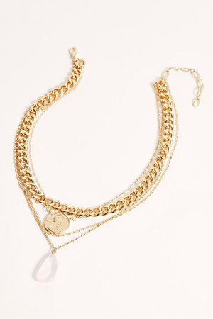 Amber Sceats Layered Coin, Chain and Rose Quartz Necklace | Free People