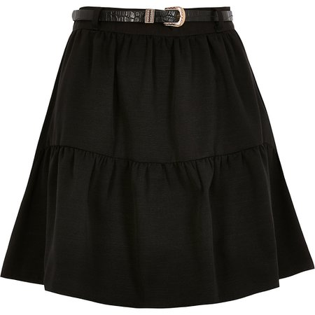 Black belted tiered mini skirt | River Island