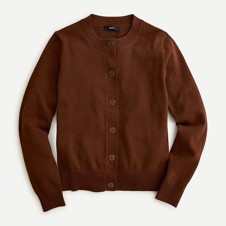J.Crew: Cardigan Sweater In Cotton Crepe For Women brown
