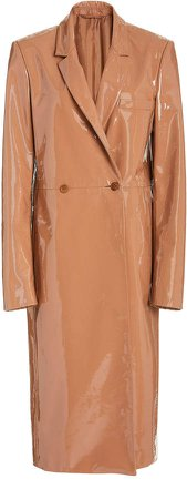 Sally LaPointe Patent Leather Double Breasted Coat