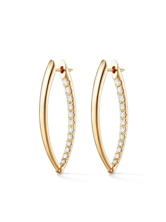 Melissa Kaye 18kt Yellow Gold And Diamond Cristina Medium Hoop Earrings - Farfetch