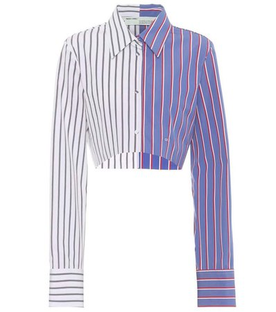 Off White - Cropped Striped Cotton Shirt
