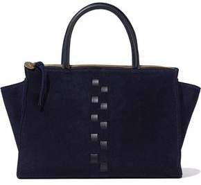 Petite Sandrine Woven Leather-trimmed Suede Shoulder Bag
