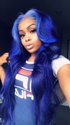 Pinterest - Beautiful long straight wigs for black women lace front wigs human hair wigs hai... , #bluehair #bluehaircolor #bluehairstyl | Blue Hairstyles