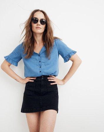 Stretch Denim A-line Mini Skirt in Black Frost
