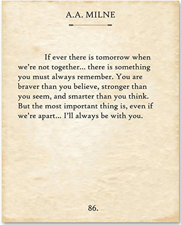 A.A. Milne - If There Ever Is Tomorrow... - 11x14 Unframed Typography Book Page Print - Great Gift for Book Lovers