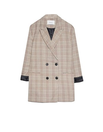 Oversized check blazer - Coats and Jackets | Stradivarius Ukraine