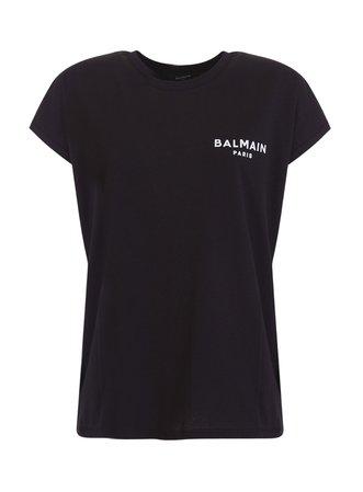 Balmain Logo-print Cap-sleeve T-shirt