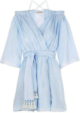 Three Graces London - Tessa Off-the-shoulder Ramie Wrap Mini Dress - Sky blue