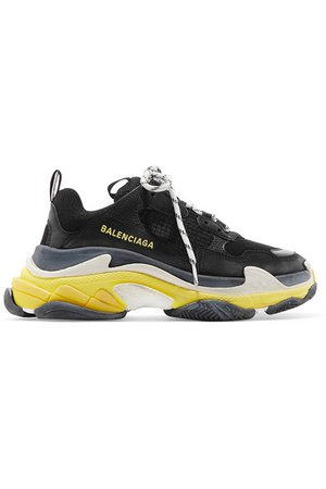 Balenciaga   Triple S logo-embroidered leather, nubuck and mesh sneakers   NET-A-PORTER.COM