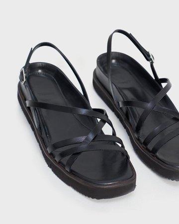 Multi-Strap Lug Sandal in Leather