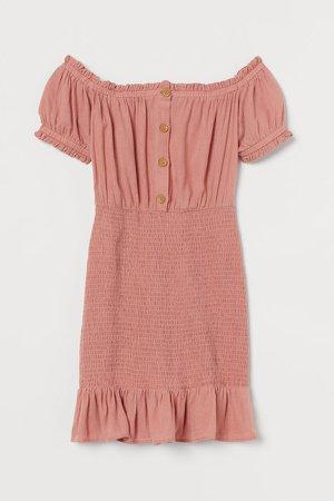 Smocked Off-the-shoulder Dress - Pink