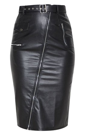 Black Faux Leather Biker Midi Skirt | Skirts | PrettyLittleThing USA