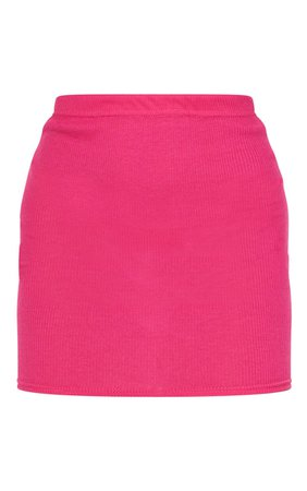 Hot Pink Ribbed Mini Skirt | Skirts | PrettyLittleThing