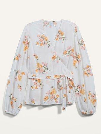 Floral-Print Tie-Belt Wrap Blouse for Women | Old Navy