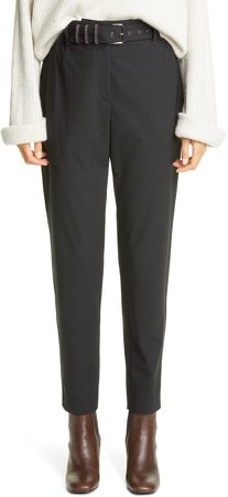Belted Tapered Wool Blend Trousers