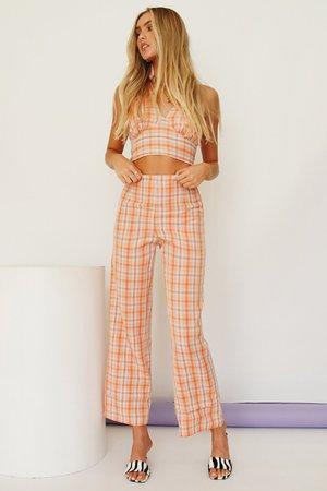 Last Sunset Check Pants // Orange – Verge Girl