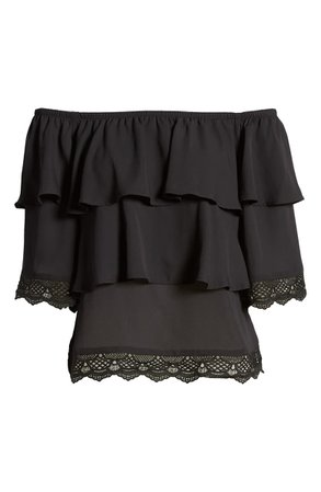 Gibson x Glam The Mom in Style Tiered Off the Shoulder Lace Detail Top (Nordstrom Exclusive) blackom