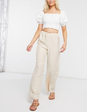 & Other Stories eco high waist linen mix trousers in beige | ASOS
