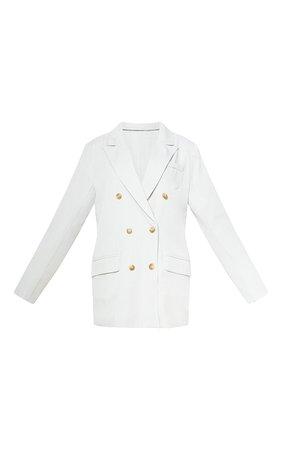 Cream Tailored Woven Blazer | Coats & Jackets | PrettyLittleThing