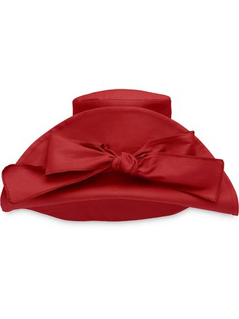 Miu Miu Detachable Bow Canvas Hat 5HC209ZKI Red   Farfetch
