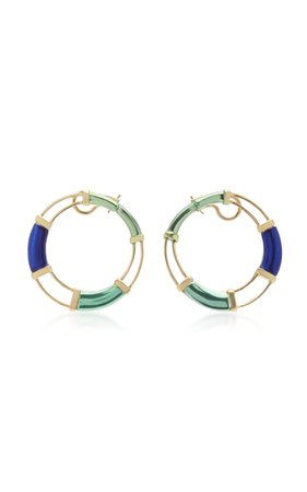 Carol Kauffmann 18K Gold and Multi-Stone Earrings