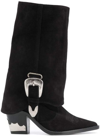 Cuban-heel buckled boots